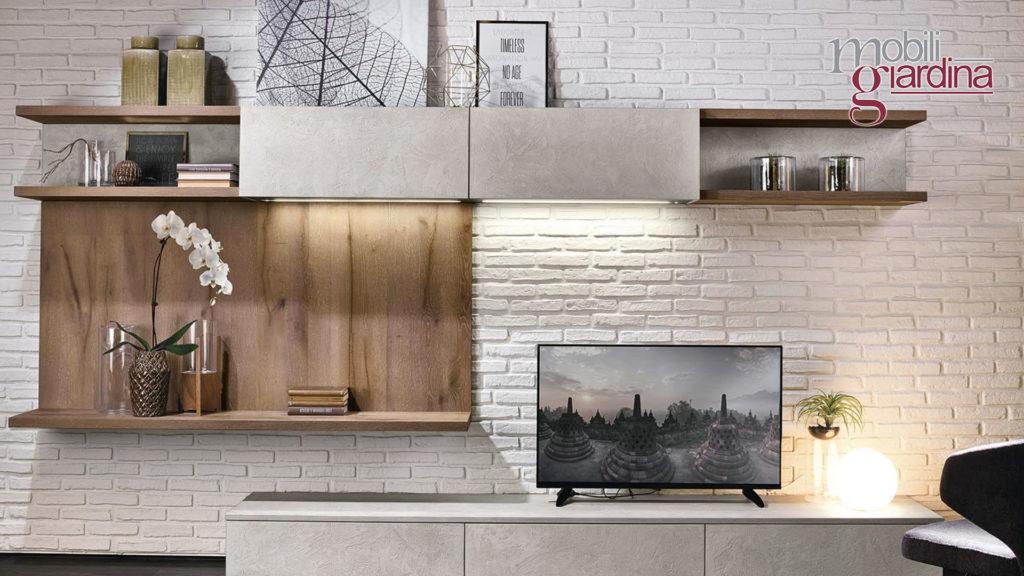 arredamento living in grigio e legno