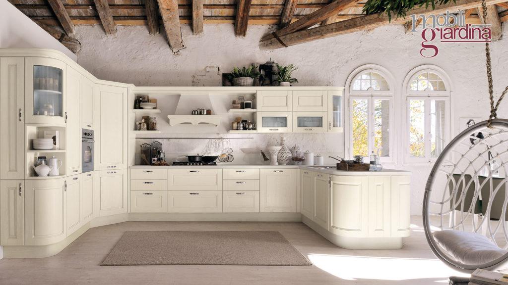 cucina agnese con sportelli legno bianco