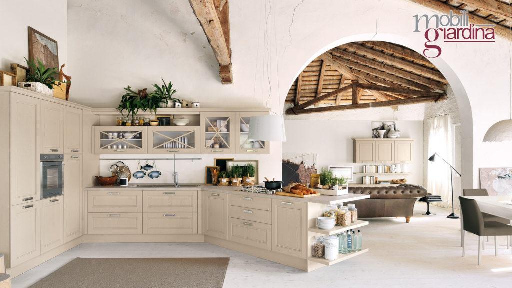 cucina agnese in legno chiaro e penisola angolare