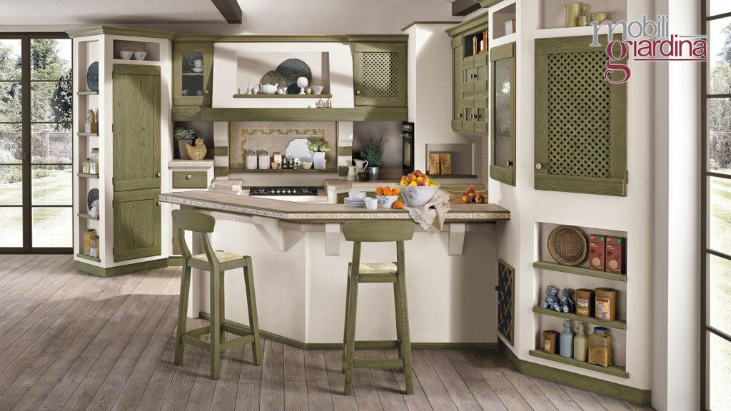 cucina anita con sportelli in legno verde