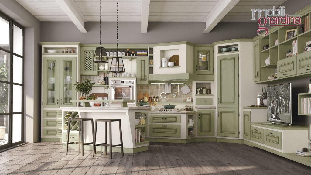 cucina beatrice con sportelli in legno verde