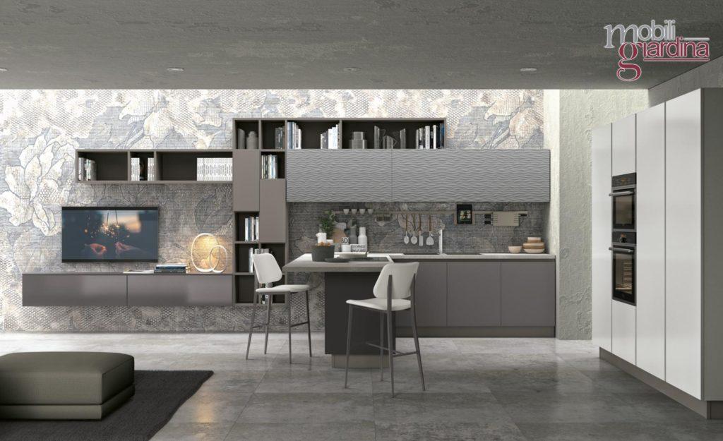 cucina clover in grigio vista frontale