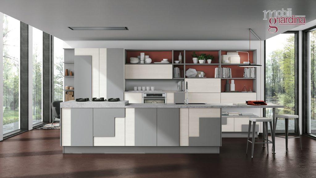 cucina creativa con particolari in grigio