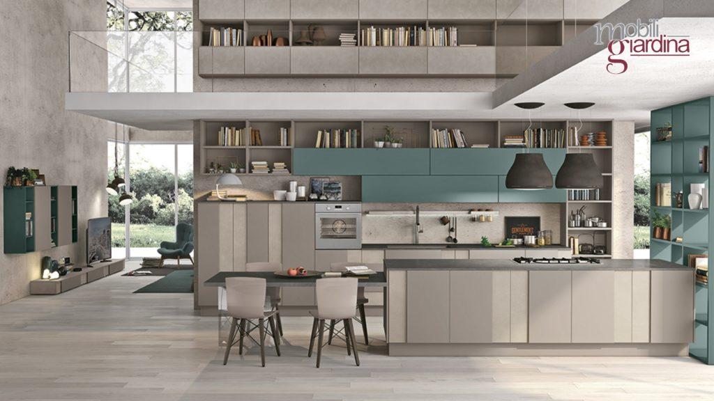 cucina creativa in grigio e azzurro