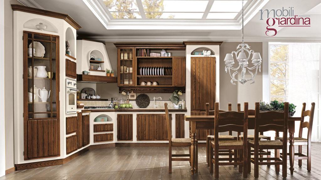 cucina elena con sportelli in legno scuro