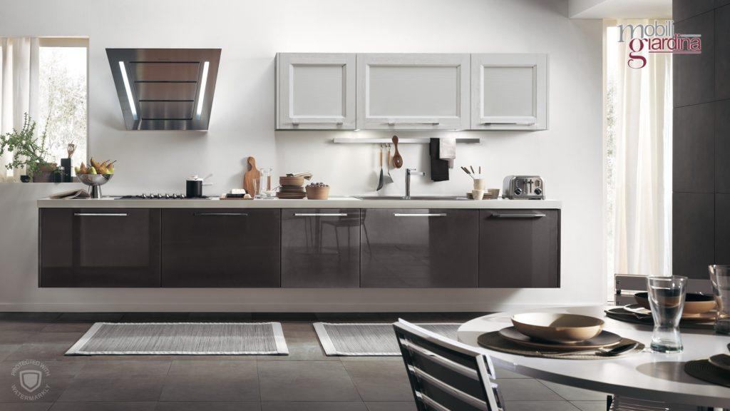 cucina georgia laccata in marrone parete unica