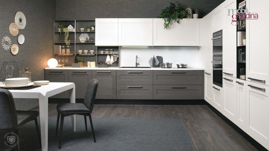 cucina laggeru in nero e bianco