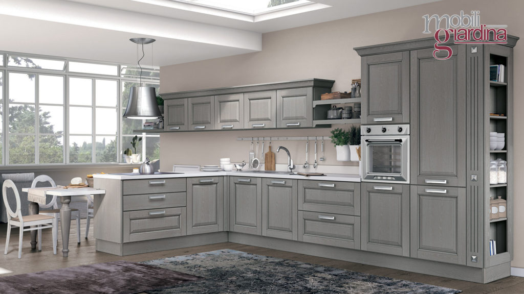 cucina laura in grigio con penisola