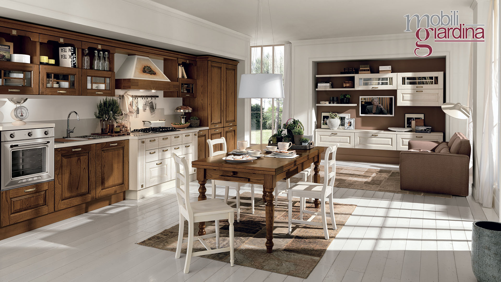 Cucina Legno E Bianco cucina laura in legno bianco e marrone – lube catania