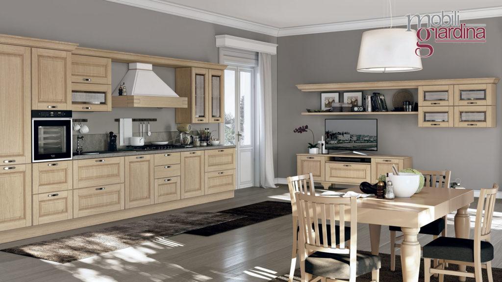 cucina laura in legno e arredamento coordinato