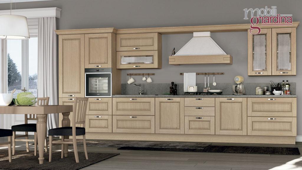 cucina laura in legno unica parete