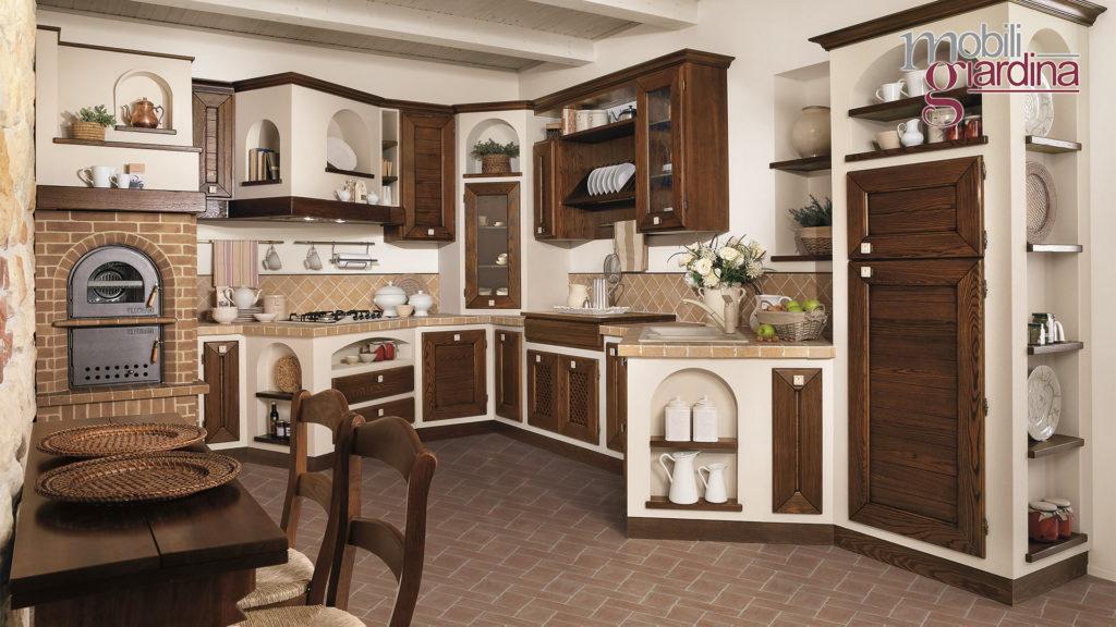 cucina luisa con sportelli in legno scuro