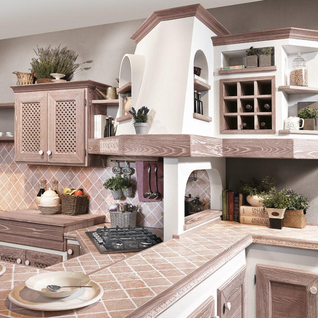 cucina luisa in legno e mattonelle