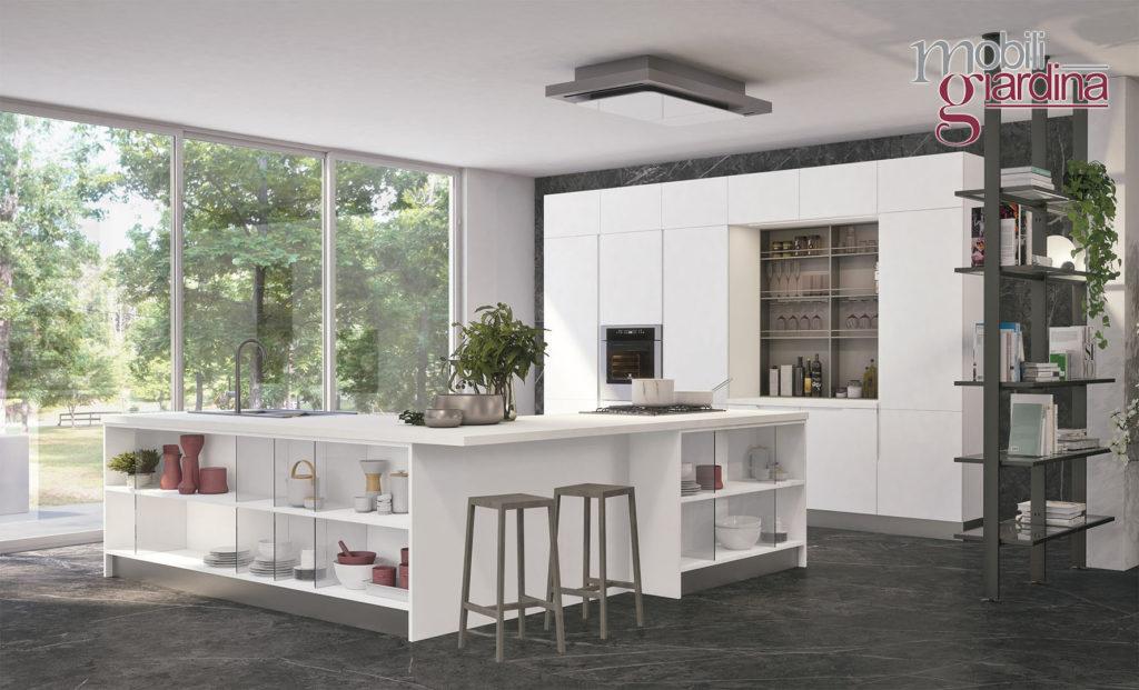 cucina luna con penisola bianca