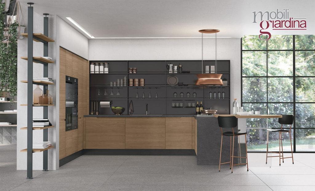 cucina luna in nero e legno