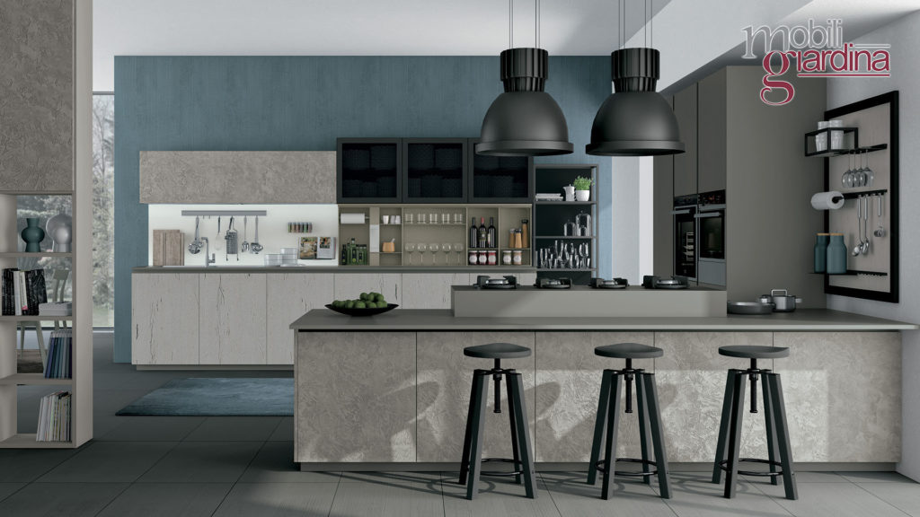 cucina oltre in marmo grigio