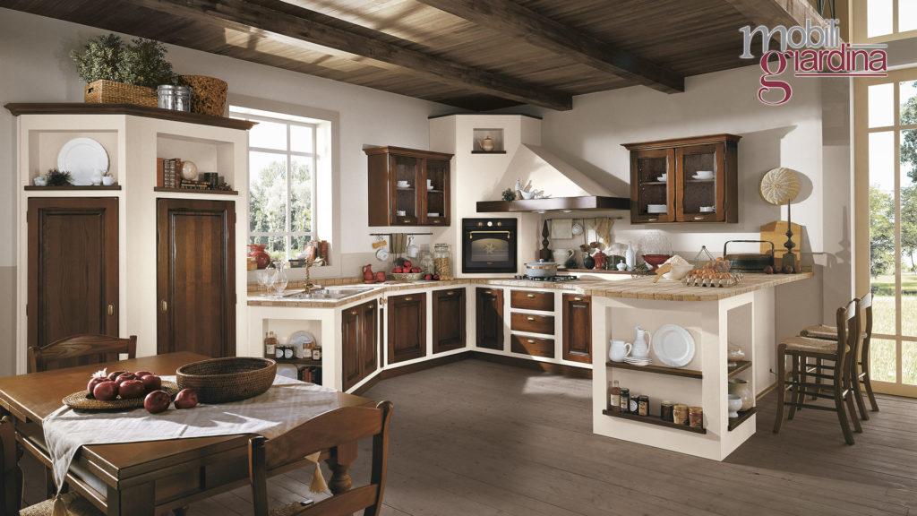 cucina onelia con sportelli in legno scuro