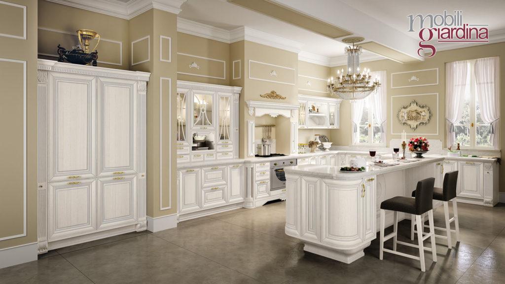 cucina pantheon bianca con penisola