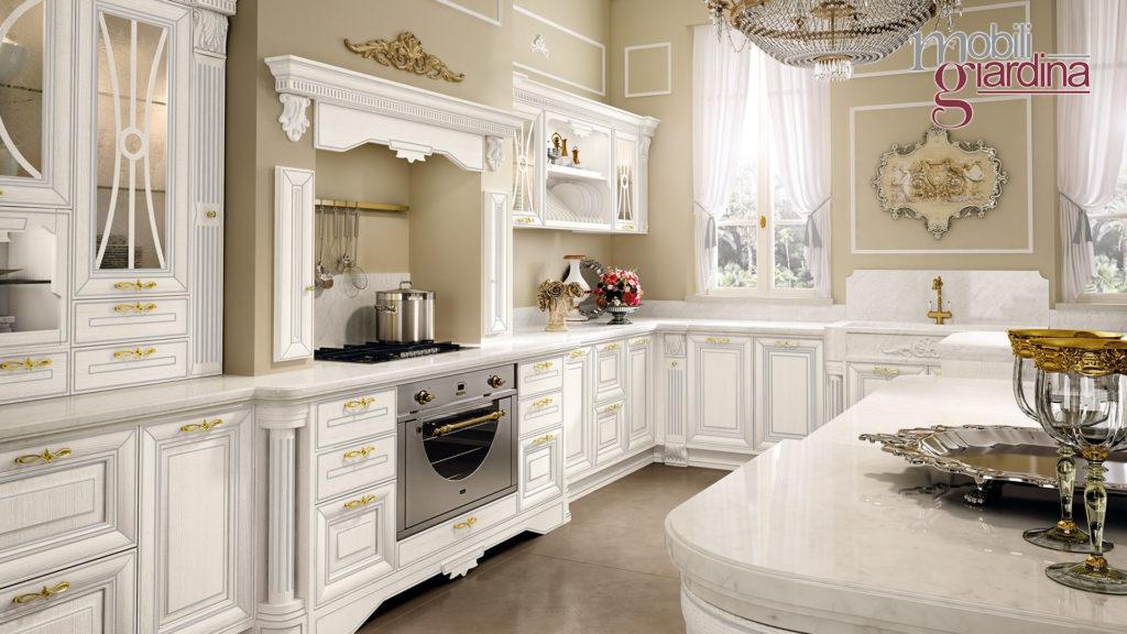 cucina pantheon bianca dettagli dorati