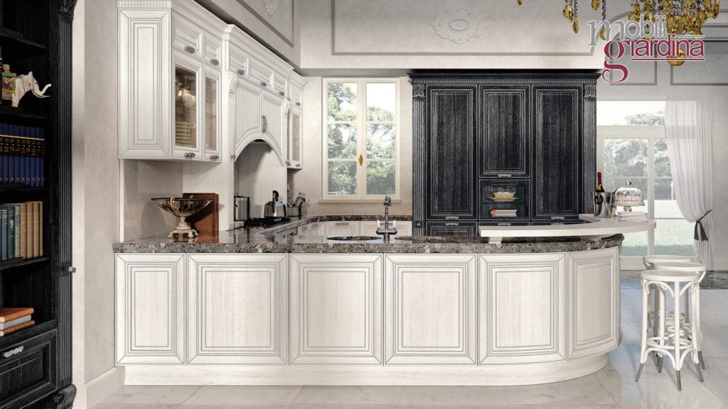 cucina pantheon con penisola in marmo nero