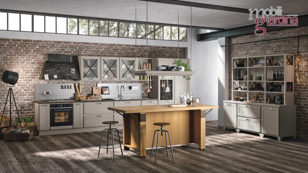 cucina provenza con piano penisola in legno