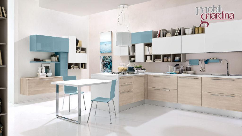 cucina swing con particolari azzurri