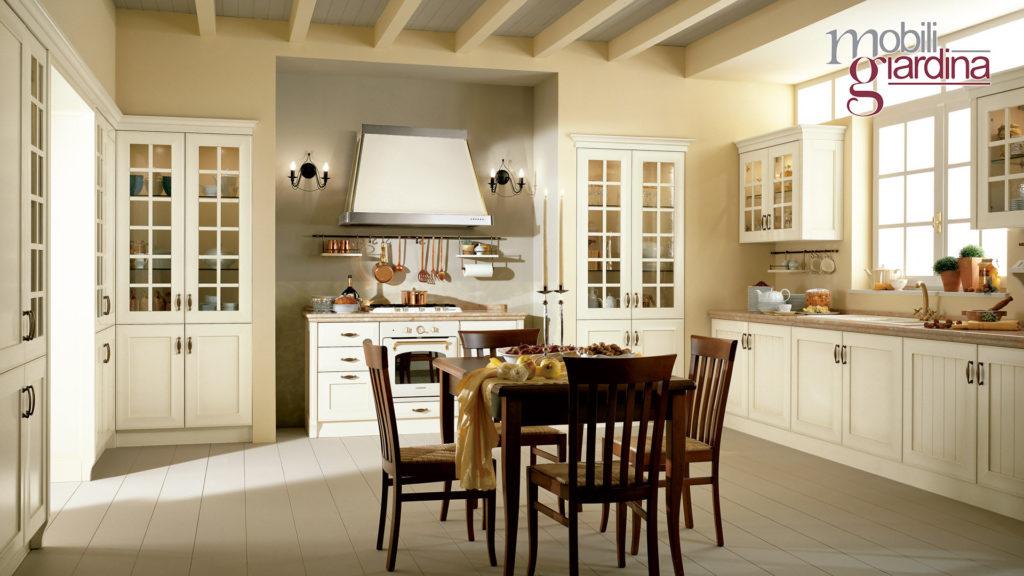 cucina velia laccata con sportelli in vetro