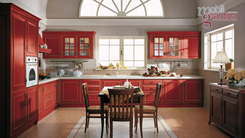 cucina velia laccata in legno rosso