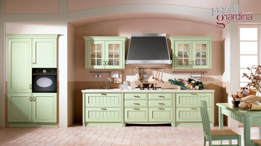 cucina velia laccata in legno verde