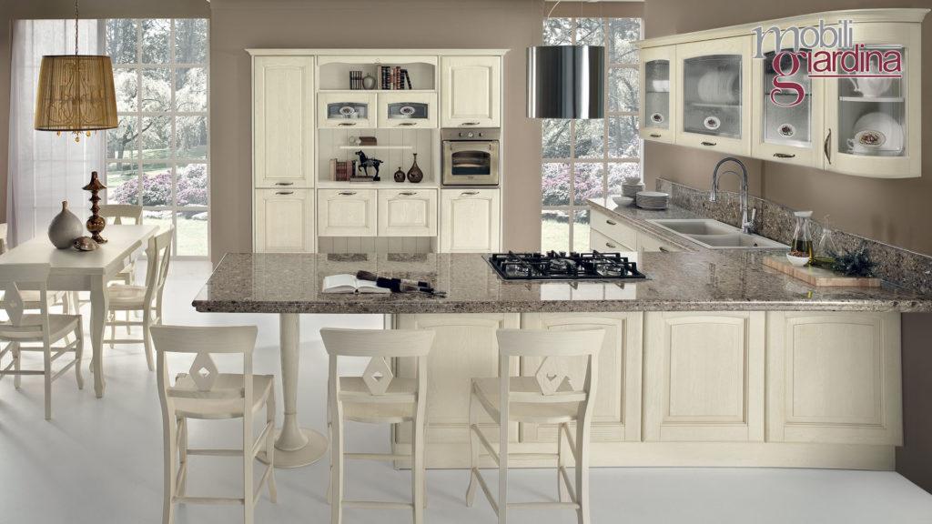 cucina veronica con penisola in marmo